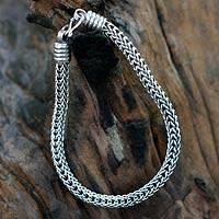 Men's sterling silver bracelet, 'Fire Dance' - Hand Made Men's Sterling Silver Chain Bracelet