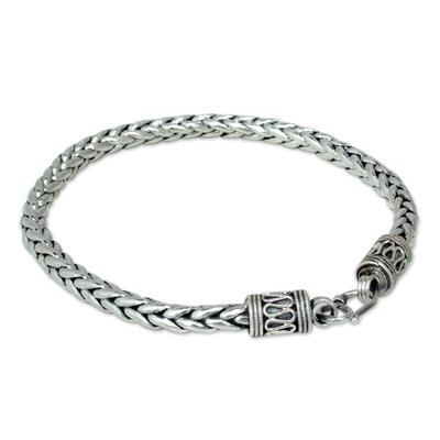 Men's sterling silver bracelet, 'Strength' - Men's Sterling Silver Chain Bracelet from Thailand