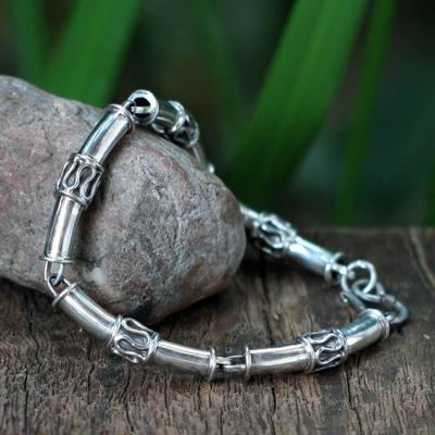 Sterling silver link bracelet, 'Bamboo' - Handmade Thai Sterling Silver Link Bracelet