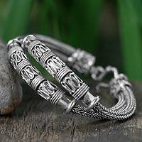 Sterling silver braided bracelet, 'Distinction' - Thai Sterling Silver Chain Bracelet