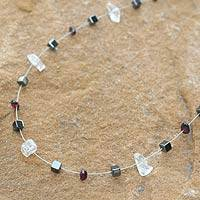 Quartz and garnet chain necklace, 'Celestial' - Unique Beaded Hematite and Garnet Necklace