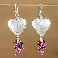 Garnet cluster earrings, 'Beating Hearts' - Garnet and Silver Heart Earrings