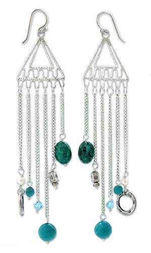 Pearl and chrysocolla chandelier earrings
