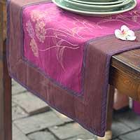Cotton table runner, 'Purple Dandelions' - Floral Cotton Table Runner