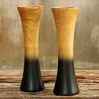 Mango wood vases, 'Volcanoes' (pair) - Pair of Handmade Thai Mango Wood Vases
