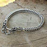 Sterling silver braided bracelet, 'Dragon Art' - One of a Kind Silver Dragon Bracelet