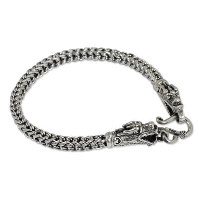 Sterling silver braided bracelet, 'Dragon Art' - Fair Trade Sterling Silver Chain Bracelet