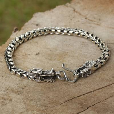 Sterling silver bracelet, 'The Protector' - Sterling Silver Dragon Head Bracelet