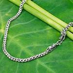 Sterling Silver Chain Necklace with Dragon Motif, 'Dragon Protection'