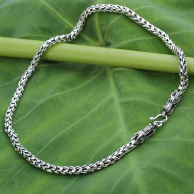 d1a61a095a1 Men's sterling silver necklace, 'Dragon Protection' - Men's Handcrafted Sterling  Silver Chain Necklace