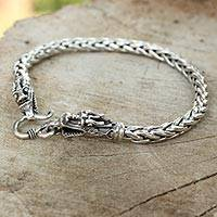 Sterling silver braided bracelet, 'Loyal Dragon' - Sterling Silver Braided Chain Bracelet