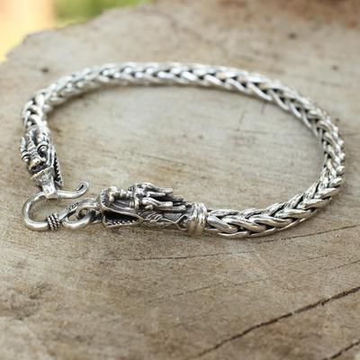 Sterling silver braided bracelet, 'Loyal Dragon' - Sterling Silver Braided Chain Bracelet