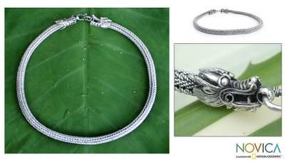 Sterling silver chain necklace, 'Guardian Dragon' - Sterling silver chain necklace