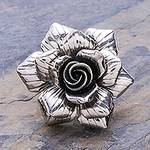 Artisan Crafted Sterling Silver Flower Cocktail Ring, 'Forever Rose'