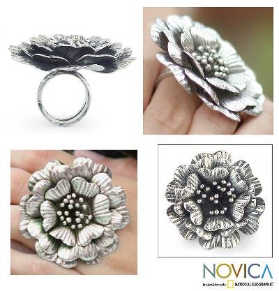 Sterling silver cocktail ring, 'Queen Zinnia' - Floral Sterling Silver Cocktail Ring