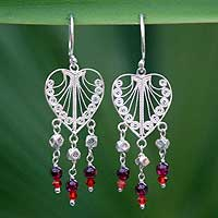 Garnet chandelier earrings, 'Thai Hearts' - Garnet and Silver Heart Earrings
