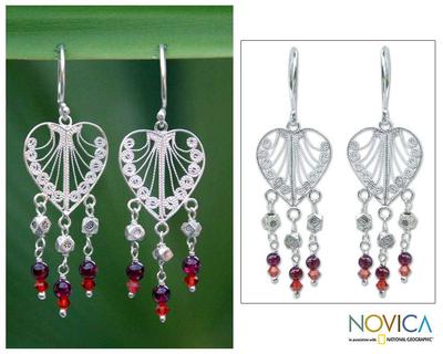 Garnet chandelier earrings, 'Thai Hearts' - Garnet and Silver Heart Earrings