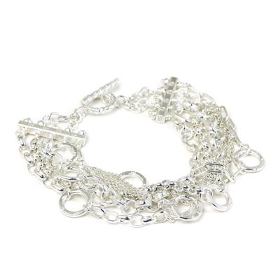 Sterling silver wristband bracelet, 'Silver Contrasts' - Sterling Silver Wristband Bracelet