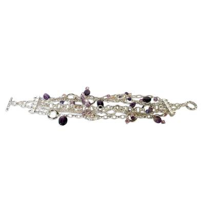Pearl and amethyst wristband bracelet, 'Purple Contrasts' - Hand Made Sterling Silver and Amethyst Bracelet
