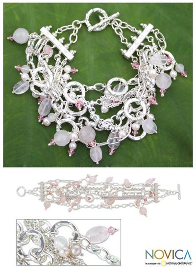 Pearl and rose quartz wristband bracelet, 'Pink Contrasts' - Pearl and Rose Quartz Wristband Bracelet
