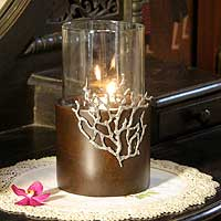 Wood and pewter candleholder, 'Coral Light' (large) - Handcrafted Thai Mango Wood Candle Holder (Large)