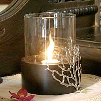 Wood and pewter candleholder, 'Coral Light' (medium) - Hand Made Wood Candleholder (Medium)