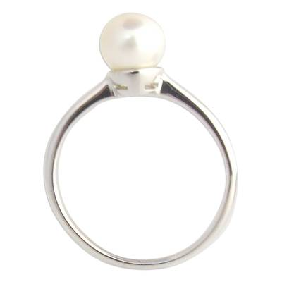 Cultured pearl solitaire ring, 'Moondrop' - Modern Cultured Pearl and Silver Solitaire Ring