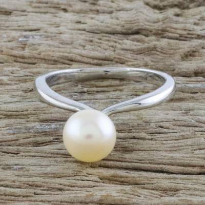 Cultured pearl solitaire ring, 'Unity Is Power' - Fair Trade Pearl and Silver Ring