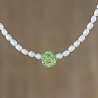 Pearl and peridot choker, 'Mystic Sea Treasure' - Pearl and Peridot Necklace