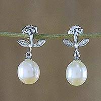 Pearl dangle earrings, 'Pink Plum' - Hand Crafted Silver and Pearl Earrings