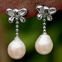 Pearl dangle earrings, 'Butterfly Cocoon' - Pearl dangle earrings