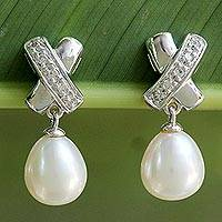 Pearl dangle earrings, 'Cross My Heart' - Pearl dangle earrings