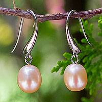 Pearl dangle earrings, 'Perfection' - Pearl and Sterling Silver Dangle Earrings