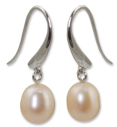 Pearl dangle earrings, 'Perfection' - Pearl and Sterling Silver Dangle Earrings