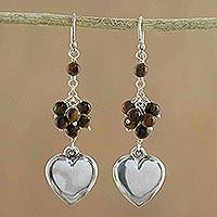 Tiger's eye cluster earrings, 'Near My Heart' - Tiger's eye cluster earrings