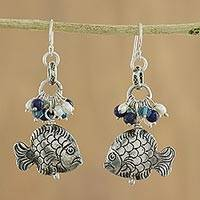 Pearl and lapis dangle earrings, 'Marine Fantasy' - Hand Crafted 950 Silver and Lapis Lazuli Earrings