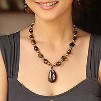 Pearl and tiger eye pendant necklace, 'Golden Paradise' - Quartz and Pearl Beaded Necklace