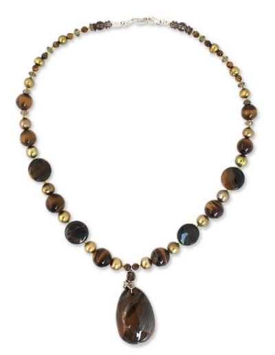 Pearl and tiger eye pendant necklace, 'Golden Paradise' - Beaded Smokey Quartz and Pearl Pendant Necklace
