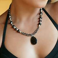 Garnet and smoky quartz jewelry set, 'Night Princess' - Garnet and Smokey Quartz Necklace and Earrings Jewelry Set