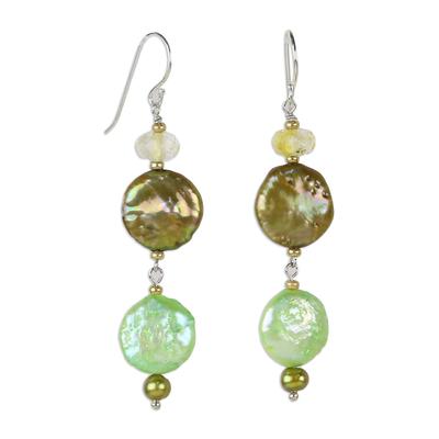 Pearl and citrine drop earrings