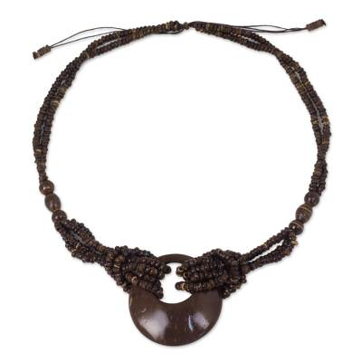 Coconut shell long necklace, 'Crescent Moon' - Coconut Shell Pendant Necklace