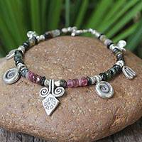 Tourmaline bracelet, 'Hill Tribe Colors' - Tourmaline bracelet