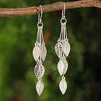 Sterling silver dangle earrings, 'Leaf Chimes'