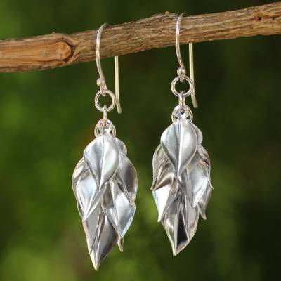 Sterling silver cluster earrings, 'Silver Leaves' - Hand Crafted Sterling Silver Dangle Earrings