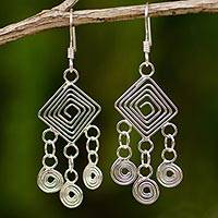 Sterling silver chandelier earrings, 'Geometry Lesson' - Handmade Sterling Silver Chandelier Earrings