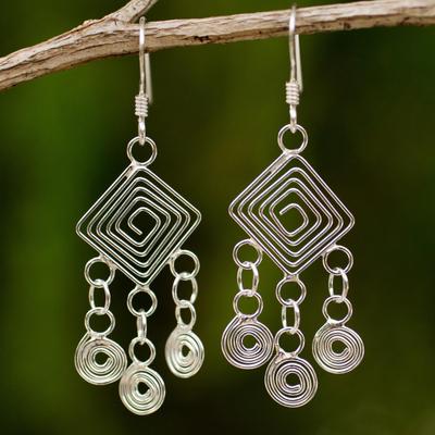 Sterling silver chandelier earrings, 'Geometry Lesson' - Handmade Sterling Silver Chandelier Earrings