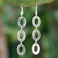 Sterling silver dangle earrings, 'Donut Trio'