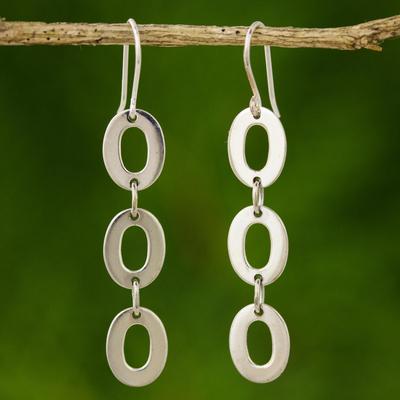 Sterling silver dangle earrings, 'Donut Trio' - Modern Sterling Silver Dangle Earrings