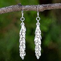 Sterling silver cluster earrings, 'Heavenly Dewdrops'