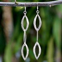 Sterling silver dangle earrings, 'Dancing Leaves'